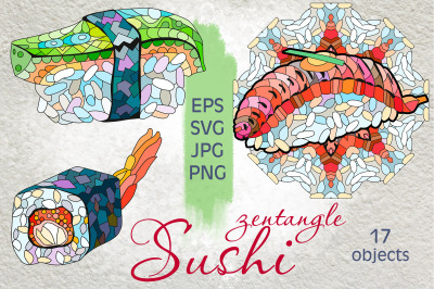 Sushi.Zentangle doodle objects