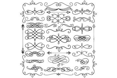 Hand Drawn Black Doodle Design Elements. Decorative Swirls, Scrolls.