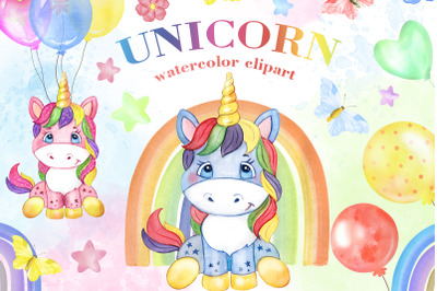 Unicorn watercolor clipart Pink and blue, rainbow clipart