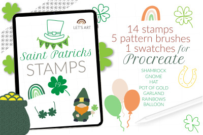 St Patricks Day stamps for Procreate, shamrock pattern brushes, clover