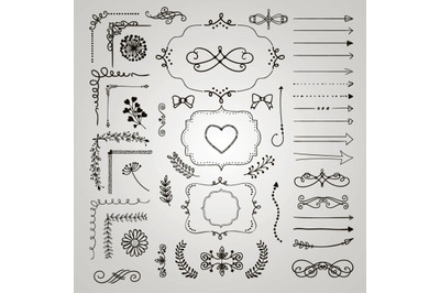Sketched Rustic Decorative Hand Drawn Elements, Objects, Dividers.