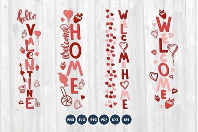 Valentine svg vertical signs png dxf eps Porch Sign bundle