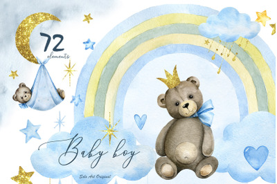 Baby shower Clipart teddy bear Baby boy PNG Watercolor