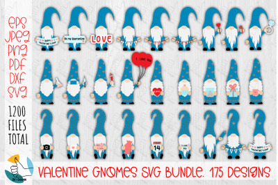 Valentine Gnomes SVG bundle. 175 designs.