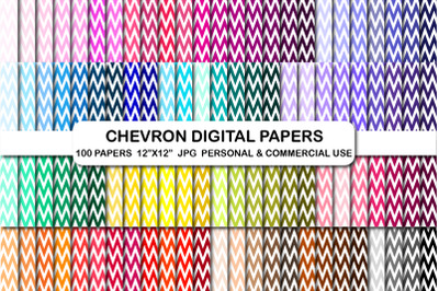 100 Chevron patter paper pack, Chevon digital papers