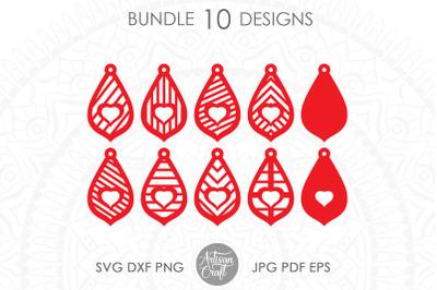 Teardrop earrings SVG, Heart earring, laser cut files