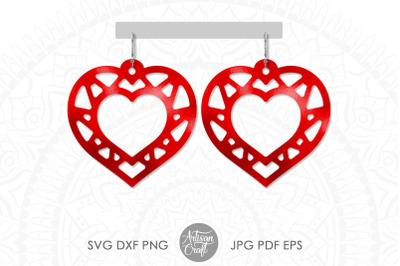 Heart earring SVG, laser cut files, Geometric earrings