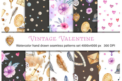 Valentine's Day vintage watercolor digital paper. Seamless patterns