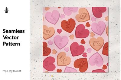 Candy heart seamless pattern