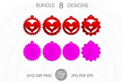 Heart earrings SVG, laser cut file