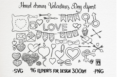 Hand drawn valentines black and white clipart  set