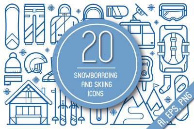 Snowboarding and Skiing Line Icons.