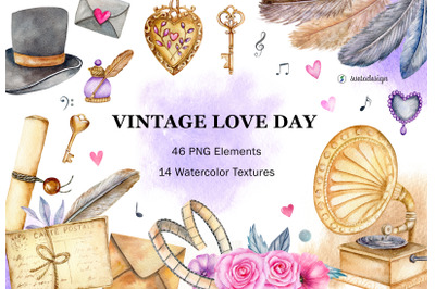 Watercolor valentine's day clipart. Hand drawn vintage elements PNG
