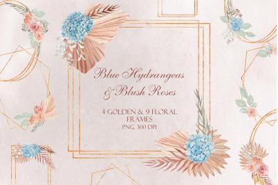 Blue Hydrangeas & Blush Roses Golden Frames