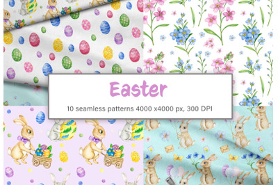 Watercolor easter bunny seamless pattern. Watercolor spring flowers