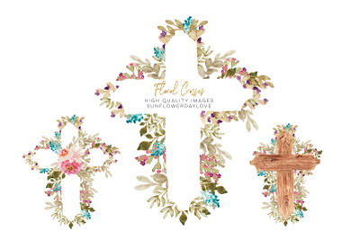 Rustic Wood Cross clipart, Watercolor Floral Crosses clipart, Baptism
