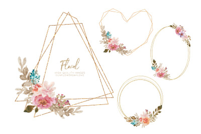 Watercolor Floral Gold Frame Clipart, geometric Flower Borders, Frames