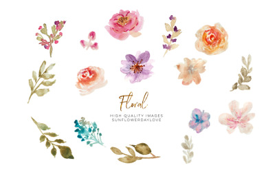 Hand Painted Watercolor Floral Clipart, Spring floral clipart, Flower