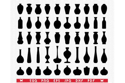 SVG Flower Vases, Black Silhouettes, Digital clipart