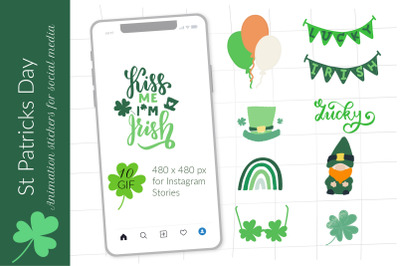 St Patricks gif animation greetings e-card, social media Instagram tem