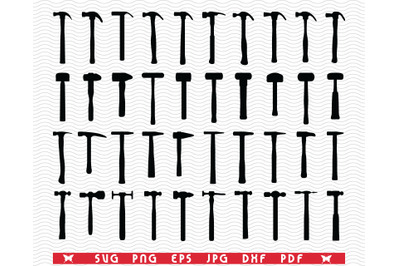 SVG Hammers, Black silhouette digital clipart