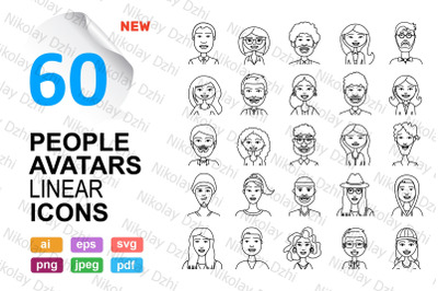 People Vector 60 Avatars Icons linear