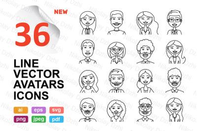People avatars 72 line icons