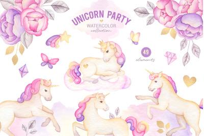 Watercolor unicorn clipart, nursery DIY digital wall art