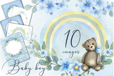 Baby boy shower Clipart invitations Frame Wreath Watercolor