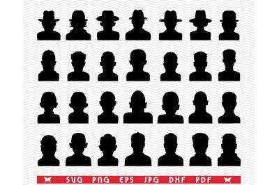 SVG Heads Avatars, Silhouettes digital clipart