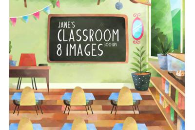 Watercolor Classroom Clipart