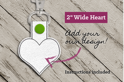 Blank Heart ITH Key Fob | Applique Embroidery