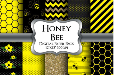 Honey Bee Digital Paper Pack