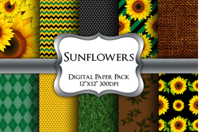 Sunflowers Digital Paper Pack