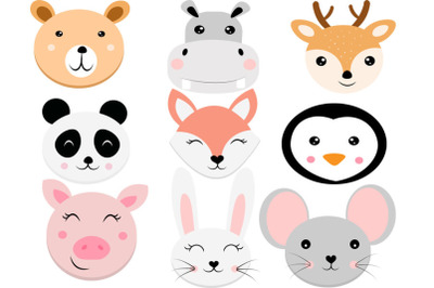 Animal faces svg,  svg, bear svg, Cute Animal svg, hippo svg, deer svg