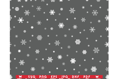 SVG Snowflakes, Seamless Pattern, Digital clipart