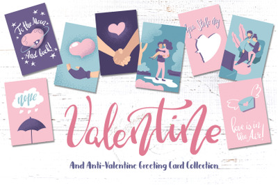 Contemporary Valentine Day Greeting Card Set