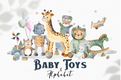 Watercolor Baby Toys & Alphabet
