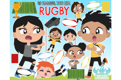 Rugby Clipart - Lime and Kiwi Designs