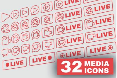 Outline Live Stream Symbols Set