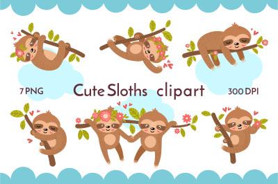 Cute Sloths PNG 26