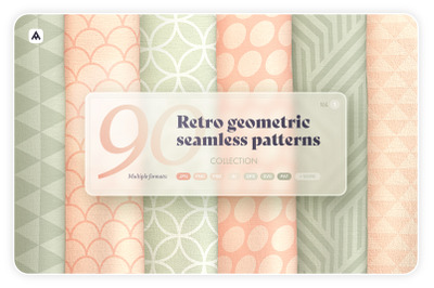 Retro geometric seamless patterns collection