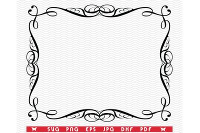 SVG Decorative Frame, Black silhouettes digital clipart