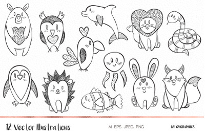 Valentine's day Hand Drawn Animals Vector Illustrations