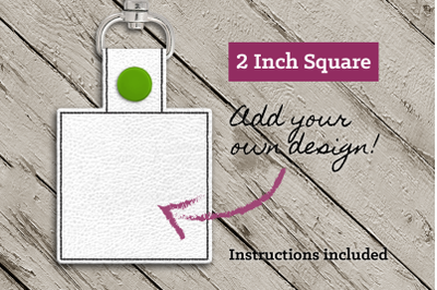 Blank Square ITH Key Fob | Applique Embroidery