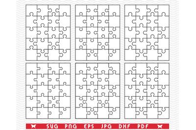 SVG White Puzzles, Separate Parts, digital clipart