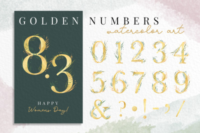 Golden numbers watercolor cliparts. 0 to 9 and ampersand