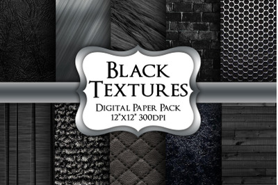 Black Textures Digital Paper Pack