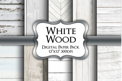 White Wood Digital Paper Pack