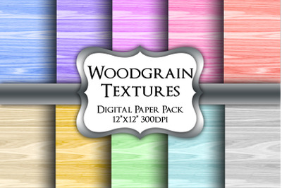 Coloured Woodgrain Digital Paper Pack